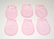 6 Pairs Pink Cotton Newborn Baby/infant No Scratch Mittens Gloves 0-6 Months
