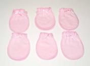 6 Pairs Pink Cotton Newborn Baby/infant No Scratch Mittens Gloves 0-6 Months