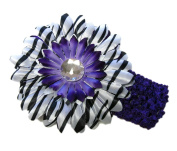 Purple Zebra Daisy Flower Clip on Black Crocheted Headband for Girls, Baby Headband