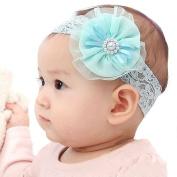 LOCOMO Baby Girl Cute Headband Elastic Lace Band Beaded Flower FBA019