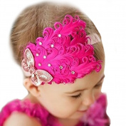 LOCOMO Baby Girl Cute Headband Pink Feather Crystal Sequin Butterfly FBA025