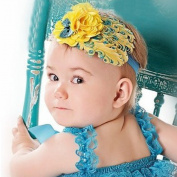 LOCOMO Baby Girl Cute Headband Yellow Flower Feather Blue Sequin Bow FBA023