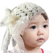 LOCOMO Baby Girl Cute Headband Floral Rose Big Lace Ribbon Bow FBA030