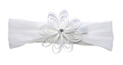 A Girl Company White Headband/Flower Set for Baby and Girl