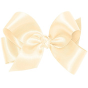 Wee Ones® Medium Classic French Satin Hair Bow w/Knot Wrap Centre - Ecru