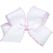 Wee Ones® Medium Classic Grosgrain Moonstitch Hair Bow - Apple Green w/White Stitching