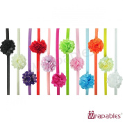 Kella Milla Set of 12 Assorted Mini Satin Mesh Flower Headbands