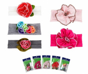 Bundle Monster 5pc Baby Cotton Stretch Pretty Rose Tulip Flower Hair Headband Mixed Colour Lot for Girls / Fits 0-4 yrs Toddler