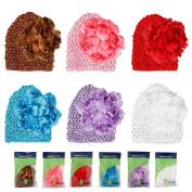 Bundle Monster 6pc Baby Cap Crochet Beanie Flower Clip Mix Colour Hat Set - Fits 0-3 yrs Toddler