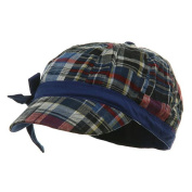 Youth Twill Plaid Newsboy Cap - Navy Royal W20S21C