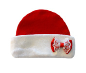 Red and White Baby Hat with Lace Bow