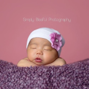 Melondipity's White Newborn Hospital Hat with Pink Flower