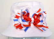 4th of July Bow Children's Sun Hat- Patriotic Sun Hat