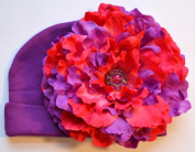 Funny Girl-Handmade Peoney Flower Baby Hat - Purple & Hot Pink