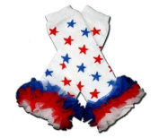 """PATRIOTIC RED, WHITE & BLUE STARS RUFFLES Baby Sweet Leggings/Leggies/Leg Warmers for Cloth Nappies - Little Girls & ONE SIZE by """"BubuBibi"""""""