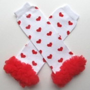 Chiffon White with Red Hearts - Tutu Chiffon Ruffle Leg Warmers - for Infant, Baby, Toddler, Girls