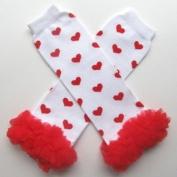 Chiffon White with Red Hearts - Tutu Chiffon Ruffle Leg Warmers - for Infant, Baby, Toddler, Girls