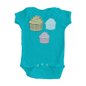 Girl's Turquoise Blue One Piece Bodysuit with Multicolor Cupcake Design
