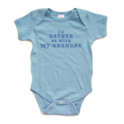 I'd Rather Be With My Grandpa - Blue Design - Short Sleeve Baby Bodysuit