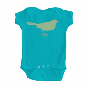 Girl's Turquoise Blue One Piece Bodysuit with Green Bird Design