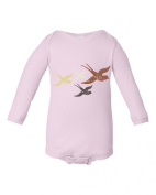 Girls Flying Birds Design Light Pink Baby Bodysuit
