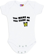 """You Wake Me, You Take Me"" White Bodysuit/Onesie"