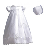 Lauren Madison baby girl Christening Baptism Special occasion Newborn Embroidered dress gown With Ribbon Beaded Trim