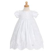 Rain Kids White Satin Puff Sleeve Pearl Baptism Dress Girls 6M-4T