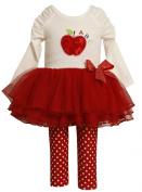 Bonnie Baby-Girls Infant Apple Applique Tutu Legging Set