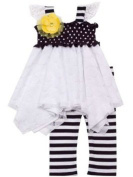 Rare Editions- Smocked Lace Dot and Striped Legging Set