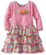 Baby Lulu Baby Girls Pink Mushroom Print Tiered Dress 24M