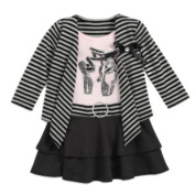 Blueberi Infant & Toddler Girls Black Stripe Ruffled Dress Glitter Ballet Shoes