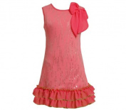 Pink Knit Sequin Flower Dress