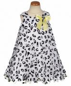 Bonnie Jean Baby Girls Infant Mesh Flocked Dress, Black / White, 12 - 24 Months