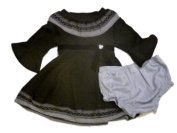 Youngland Infant & Toddler Girls Black & Grey Hearts Ribbon Party Dress Holiday