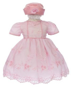 Elegant Baby Girl Pink Dress & Hat. Available in 12,18,24,36 Months
