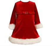 Infant Girls Christmas Dress - Red Sparkle Velour Fur Trim
