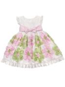 White Taffeta Dress with Pink and Lime Soutache Flowers