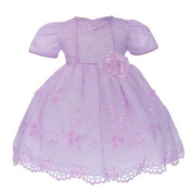 Easter Girls Toddler Dresses - Lilac with Pearl Beads & Organza Flower Applique