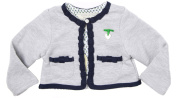 Richie House Baby's Grey Cardigan with Blue Trim and Mother of Pearl Accent RH120133