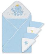 Spasilk 100% Cotton Hooded Terry Bath Towel with 4 Washcloths