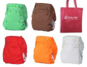 Bummis Easy Fit Tots Bots One Size Cloth Nappy 6 Pack Gender Neutral Colours with Reusable Dainty Baby Bag Bundle