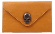 MDR Store@ Faux Leather Skull Envelope Clutch Hand Carry Bag Skull Adornments Evening Party Shoulder Handbag Purse Wallet