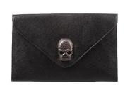 MDR Store@ Faux Leather Skull Envelope Clutch Hand Carry Bag Skull Adornments Evening Party Shoulder Handbag Purse Wallet