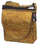 Antique Gold (Dark Brown) Chilli Flower Brocade Nappy Bags 12x30cm x 10cm