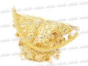 Beaded Sequin Triangle Hand Bag Purse Tote Gold
