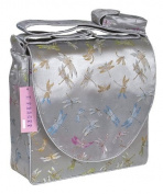 I Frogee Silver Drgonfly Brocade Messenger Nappy Bags