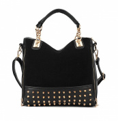Highwinwin Fashion Women Lady Rivet Studded Tote Medium Handbag Shoulder Bag Tote