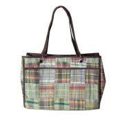 C-Red Preppy Madras Reversible Carry All Tote