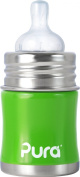 Pura Kiki Stainless Infant Bottle Stainless Steel with Natural Vent Nipple, 150ml, Spring Green, 0-3 Months+